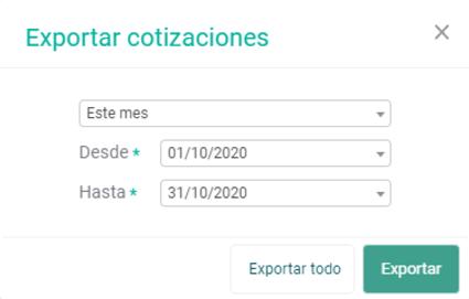 Exportar cotizaciones