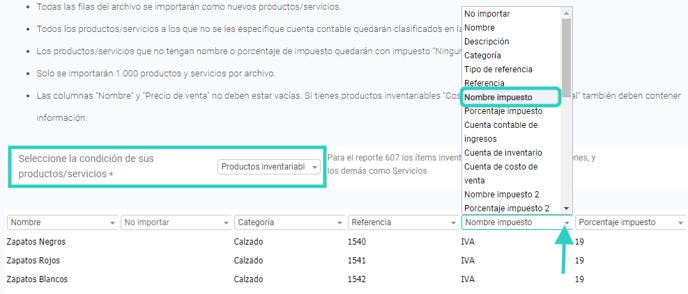 Formulario importar productos