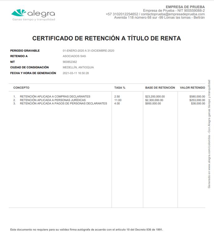 Certificado de retencion