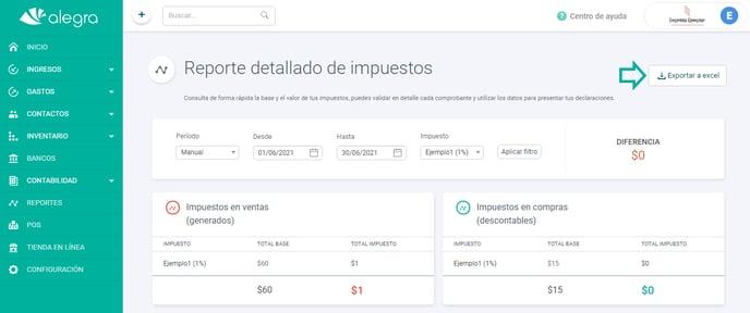 exportar reporte detallado impuestos ayuda alegra usa
