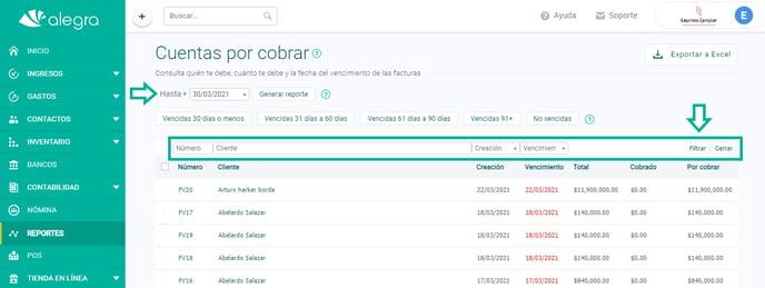 filtros reporte cuentas por cobrar ayuda alegra