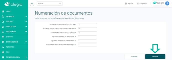 numeración documentos ayuda alegra