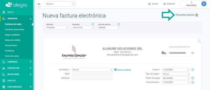 personalizar opciones factura electrónica DOM
